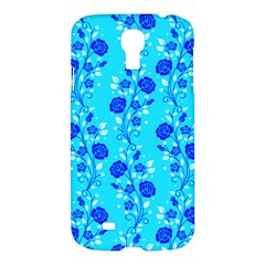 Vertical Floral Rose Flower Blue Samsung Galaxy S4 I9500/i9505 Hardshell Case by Mariart