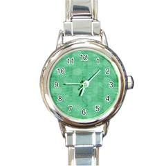 Polka Dot Scrapbook Paper Digital Green Round Italian Charm Watch by Mariart