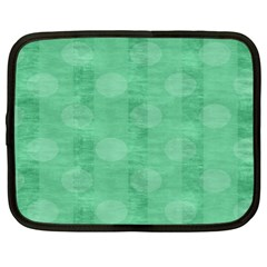 Polka Dot Scrapbook Paper Digital Green Netbook Case (large) by Mariart