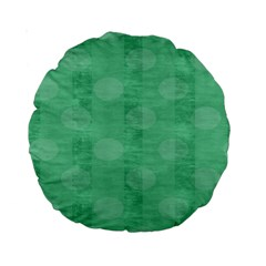 Polka Dot Scrapbook Paper Digital Green Standard 15  Premium Round Cushions by Mariart