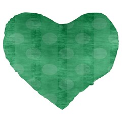 Polka Dot Scrapbook Paper Digital Green Large 19  Premium Heart Shape Cushions by Mariart