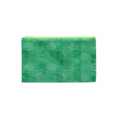 Polka Dot Scrapbook Paper Digital Green Cosmetic Bag (xs) by Mariart