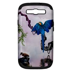 Wonderful Blue Parrot In A Fantasy World Samsung Galaxy S Iii Hardshell Case (pc+silicone) by FantasyWorld7