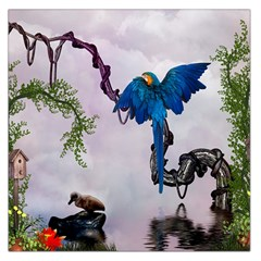 Wonderful Blue Parrot In A Fantasy World Large Satin Scarf (square) by FantasyWorld7