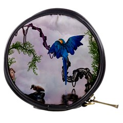 Wonderful Blue Parrot In A Fantasy World Mini Makeup Bags by FantasyWorld7