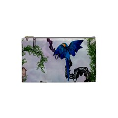 Wonderful Blue Parrot In A Fantasy World Cosmetic Bag (small)  by FantasyWorld7