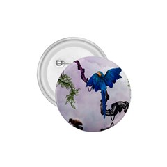 Wonderful Blue Parrot In A Fantasy World 1 75  Buttons by FantasyWorld7