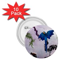 Wonderful Blue Parrot In A Fantasy World 1 75  Buttons (10 Pack) by FantasyWorld7