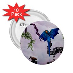 Wonderful Blue Parrot In A Fantasy World 2 25  Buttons (10 Pack)  by FantasyWorld7