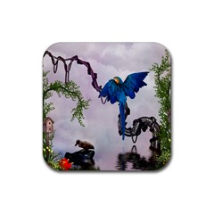 Wonderful Blue Parrot In A Fantasy World Rubber Coaster (square)  by FantasyWorld7