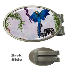 Wonderful Blue Parrot In A Fantasy World Money Clips (oval)  by FantasyWorld7
