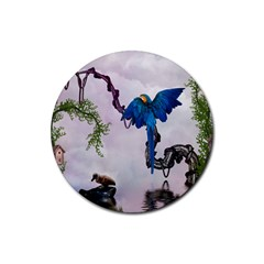 Wonderful Blue Parrot In A Fantasy World Rubber Round Coaster (4 Pack)  by FantasyWorld7