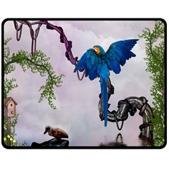 Wonderful Blue Parrot In A Fantasy World Double Sided Fleece Blanket (medium)  by FantasyWorld7