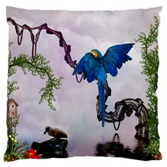 Wonderful Blue Parrot In A Fantasy World Standard Flano Cushion Case (one Side) by FantasyWorld7