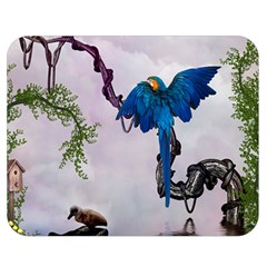 Wonderful Blue Parrot In A Fantasy World Double Sided Flano Blanket (medium)  by FantasyWorld7