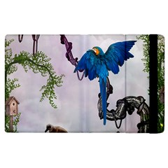 Wonderful Blue Parrot In A Fantasy World Apple Ipad 3/4 Flip Case by FantasyWorld7