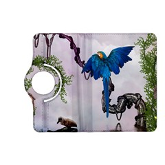 Wonderful Blue Parrot In A Fantasy World Kindle Fire Hd (2013) Flip 360 Case by FantasyWorld7