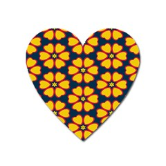Yellow Flowers Pattern         			magnet (heart) by LalyLauraFLM