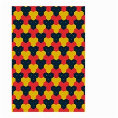 Red Blue Yellow Shapes Pattern        Small Garden Flag by LalyLauraFLM