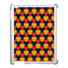Red Blue Yellow Shapes Pattern       apple Ipad 3/4 Case (white) by LalyLauraFLM