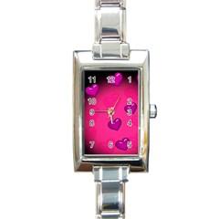 Pink Hearth Background Wallpaper Texture Rectangle Italian Charm Watch by Nexatart