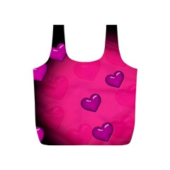 Pink Hearth Background Wallpaper Texture Full Print Recycle Bags (s)  by Nexatart