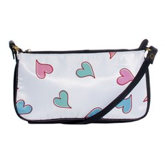 Colorful Random Hearts Shoulder Clutch Bags by Nexatart