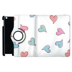 Colorful Random Hearts Apple Ipad 2 Flip 360 Case by Nexatart