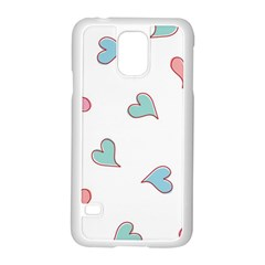 Colorful Random Hearts Samsung Galaxy S5 Case (white) by Nexatart
