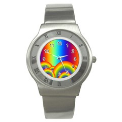 Background Rainbow Stainless Steel Watch by Nexatart