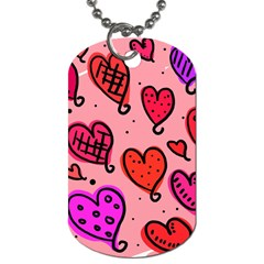 Valentine Wallpaper Whimsical Cartoon Pink Love Heart Wallpaper Design Dog Tag (two Sides) by Nexatart