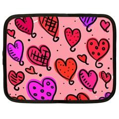 Valentine Wallpaper Whimsical Cartoon Pink Love Heart Wallpaper Design Netbook Case (xl)  by Nexatart