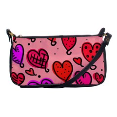 Valentine Wallpaper Whimsical Cartoon Pink Love Heart Wallpaper Design Shoulder Clutch Bags by Nexatart