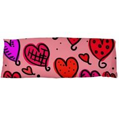 Valentine Wallpaper Whimsical Cartoon Pink Love Heart Wallpaper Design Body Pillow Case Dakimakura (two Sides) by Nexatart