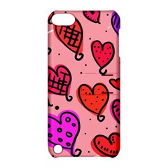 Valentine Wallpaper Whimsical Cartoon Pink Love Heart Wallpaper Design Apple Ipod Touch 5 Hardshell Case With Stand by Nexatart