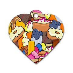 Sweet Stuff Digitally Food Dog Tag Heart (two Sides) by Nexatart
