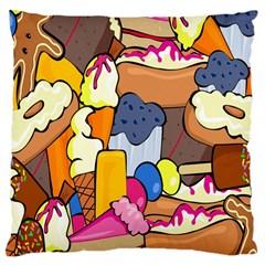 Sweet Stuff Digitally Food Large Cushion Case (two Sides) by Nexatart