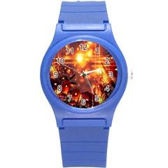 Summer Evening Round Plastic Sport Watch (s) by Nexatart