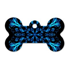 Blue Snowflake Dog Tag Bone (two Sides) by Nexatart