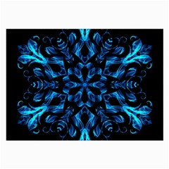 Blue Snowflake Large Glasses Cloth (2 Side) by Nexatart