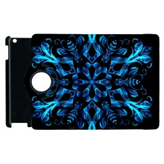 Blue Snowflake Apple Ipad 3/4 Flip 360 Case by Nexatart
