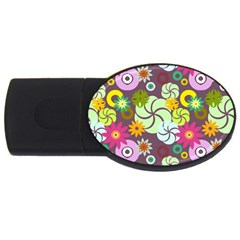 Floral Seamless Pattern Vector Usb Flash Drive Oval (2 Gb) by Nexatart