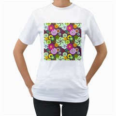 Floral Seamless Pattern Vector Women s T-Shirt (White)