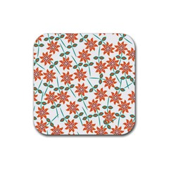 Floral Seamless Pattern Vector Rubber Square Coaster (4 Pack)  by Nexatart
