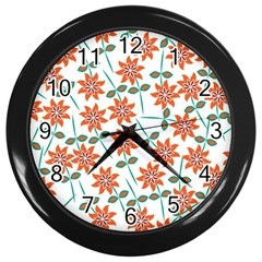 Floral Seamless Pattern Vector Wall Clocks (black) by Nexatart