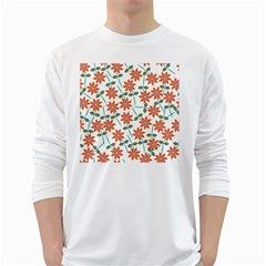 Floral Seamless Pattern Vector White Long Sleeve T Shirts by Nexatart