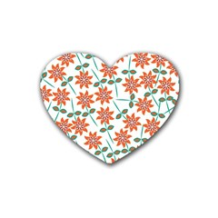 Floral Seamless Pattern Vector Heart Coaster (4 Pack)  by Nexatart
