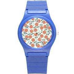 Floral Seamless Pattern Vector Round Plastic Sport Watch (s) by Nexatart