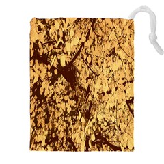 Abstract Brachiate Structure Yellow And Black Dendritic Pattern Drawstring Pouches (xxl) by Nexatart