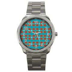 Floral Seamless Pattern Vector Sport Metal Watch by Nexatart